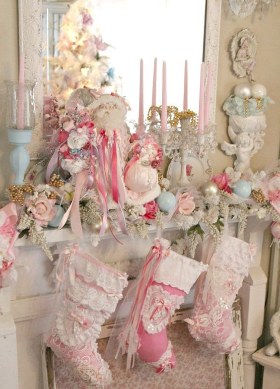 Pink Simple Shabby Chic Christmas Chimney Decor