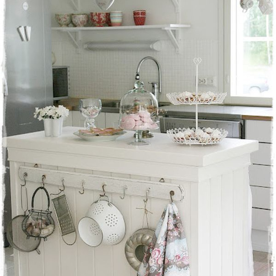 Shabby White Kitchen Counter DIY Decors