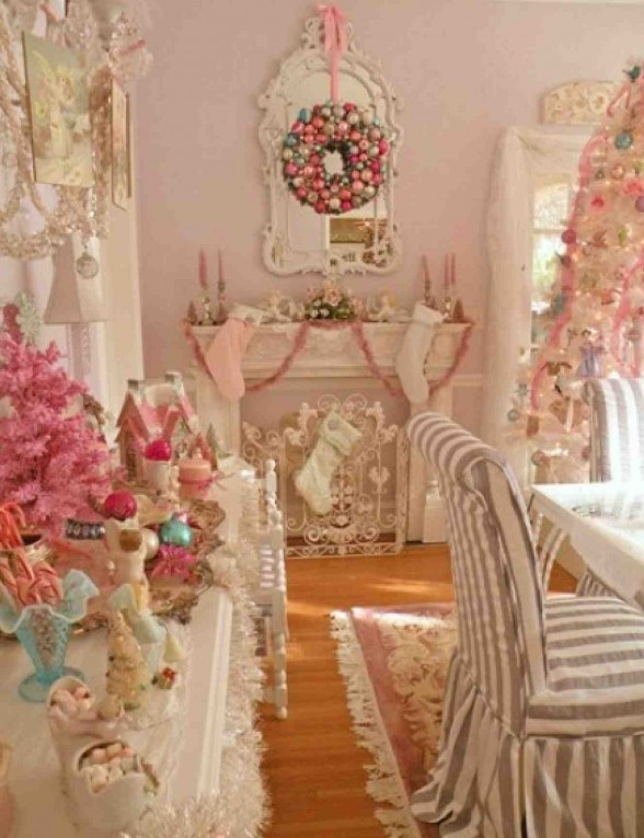 Pink Shabby Chic Christmas Decor Ideas